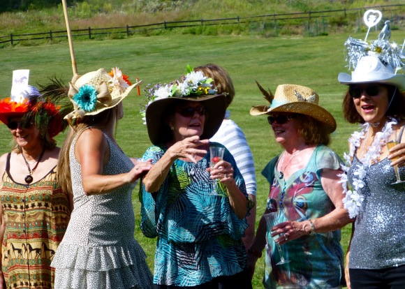 "Caroline Kelner (far right), flanked by fellow competitors, is the winner of the ""Arleen Lippman Hat Trophy."""